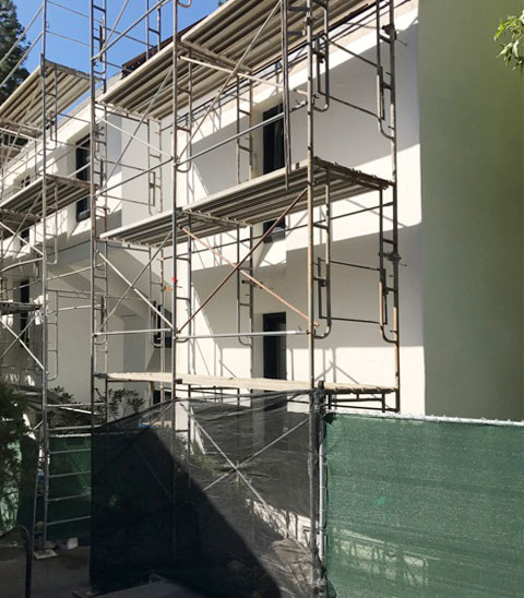 Crown College renovation scaffolding