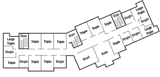College Nine residence hall floor plan